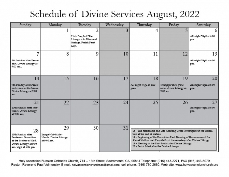 Calendar | Holy Ascension Russian Orthodox Church of ...